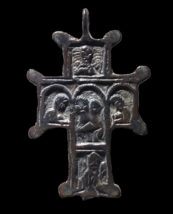Cast bronze cross with scenes